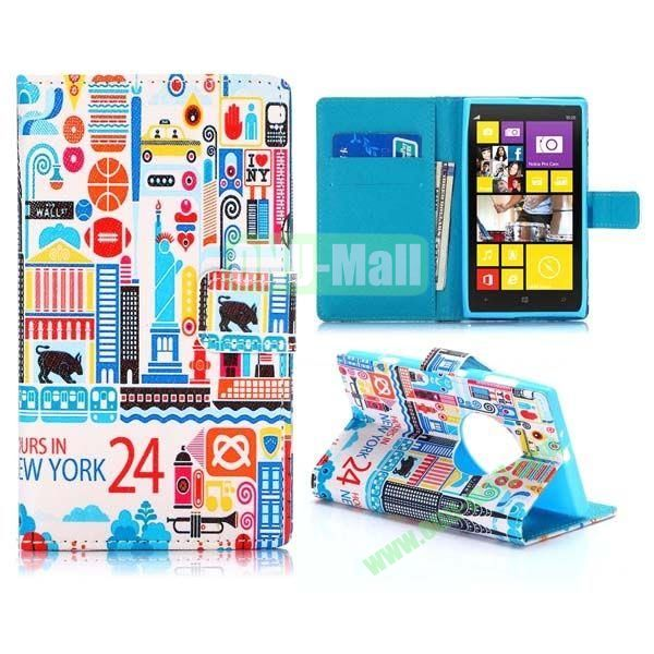 Colorized 24 Hours in New York Pattern Cross Texture Magnetic Flip Stand TPU+PU Leather Case for Nokia Lumia 1020