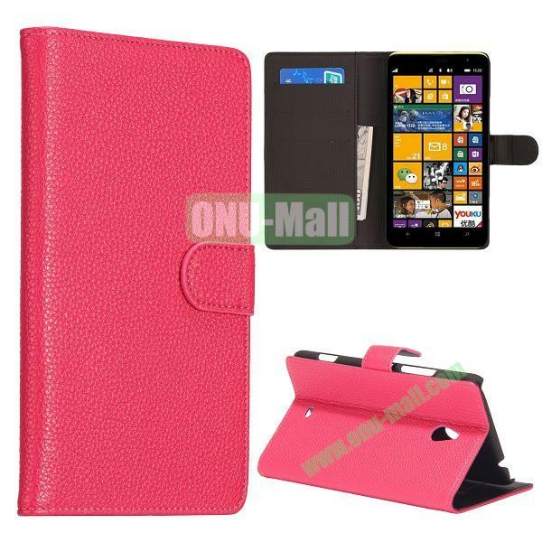 Litchi Texture Leather Case for Nokia Lumia 1320 with Stand and Card Slots(Pink)