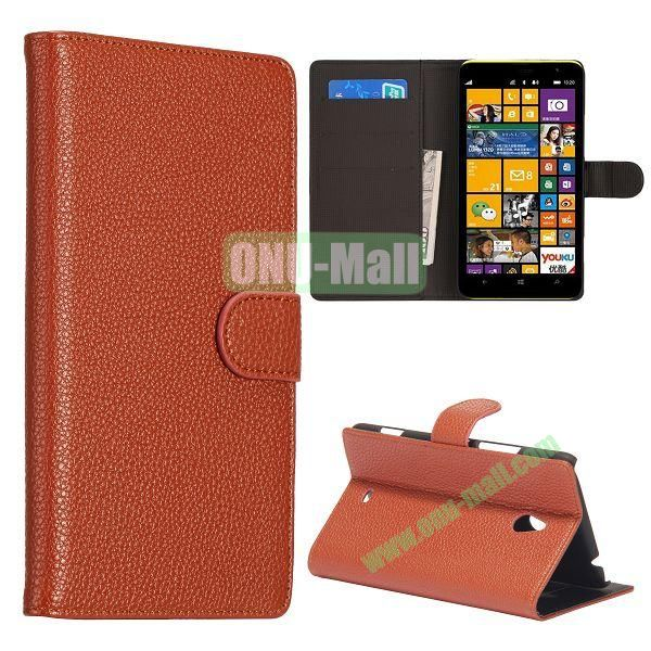 Litchi Texture Leather Case for Nokia Lumia 1320 with Stand and Card Slots(Brown)
