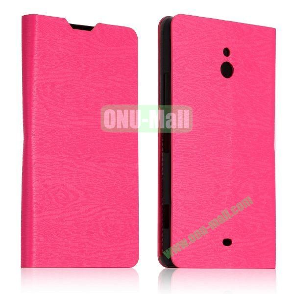 Tree Bark Texture Leather Flip Stand Case with Card Slots for Nokia Lumia 1320 (Rose)