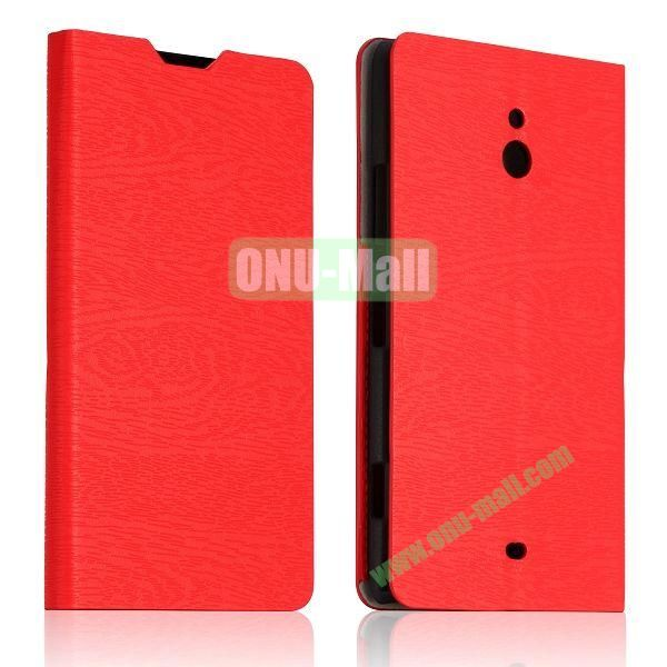 Tree Bark Texture Leather Flip Stand Case with Card Slots for Nokia Lumia 1320 (Red)