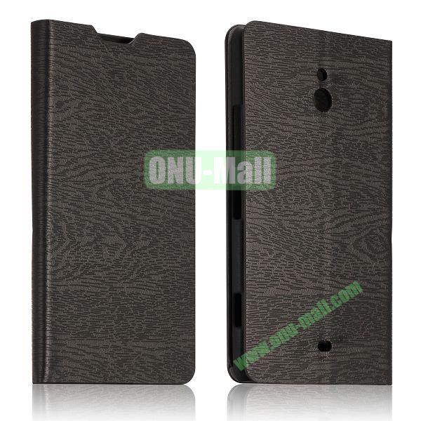 Tree Bark Texture Leather Flip Stand Case with Card Slots for Nokia Lumia 1320 (Black)