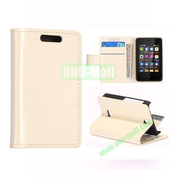 Crazy Horse Texture Leather Case With Card Slots and Magnetic Button for NOKIA Asha 501(White)