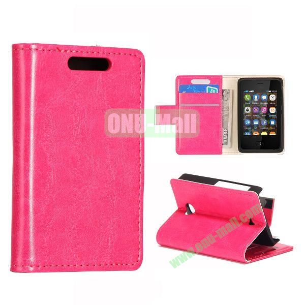 Crazy Horse Texture Leather Case With Card Slots and Magnetic Button for NOKIA Asha 501(Rose)