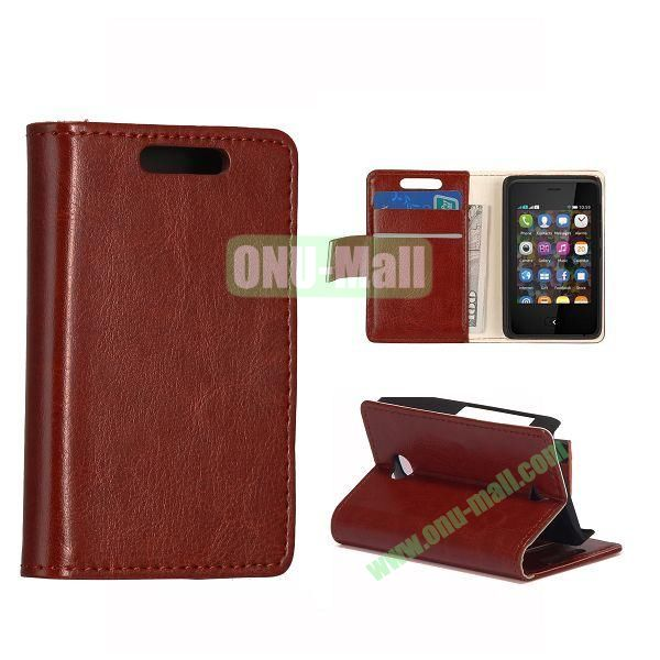 Crazy Horse Texture Leather Case With Card Slots and Magnetic Button for NOKIA Asha 501(Brown)