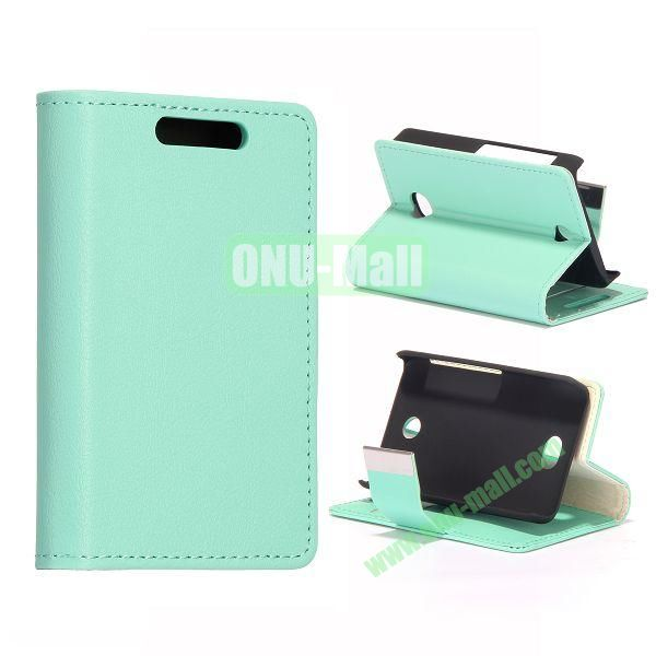 Litchi Texture Leather Case With Card Slots and Magnetic Button for NOKIA Asha 501 (Light Blue)