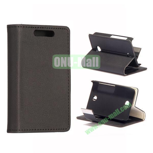 Litchi Texture Leather Case With Card Slots and Magnetic Button for NOKIA Asha 501 (Black)