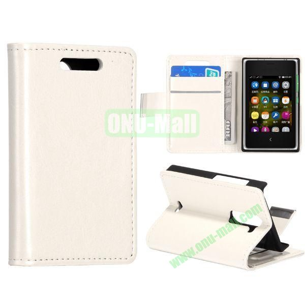 Solid Color Stand Leather Case for NOKIA Asha 502 (White)
