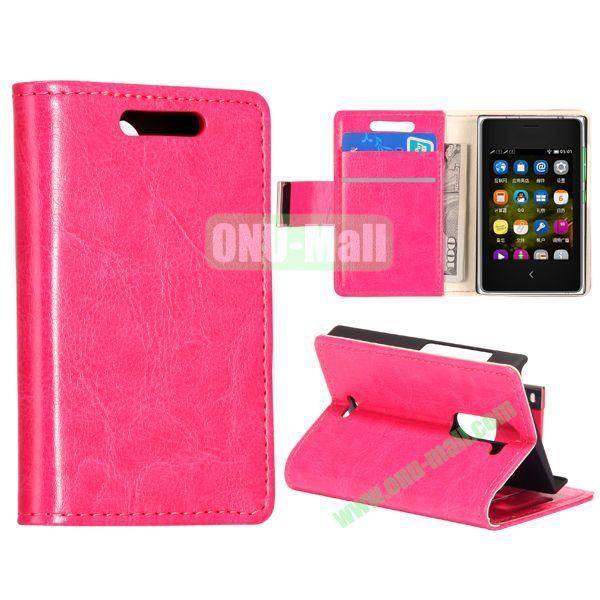 Solid Color Stand Leather Case for NOKIA Asha 502 (Hotpink)