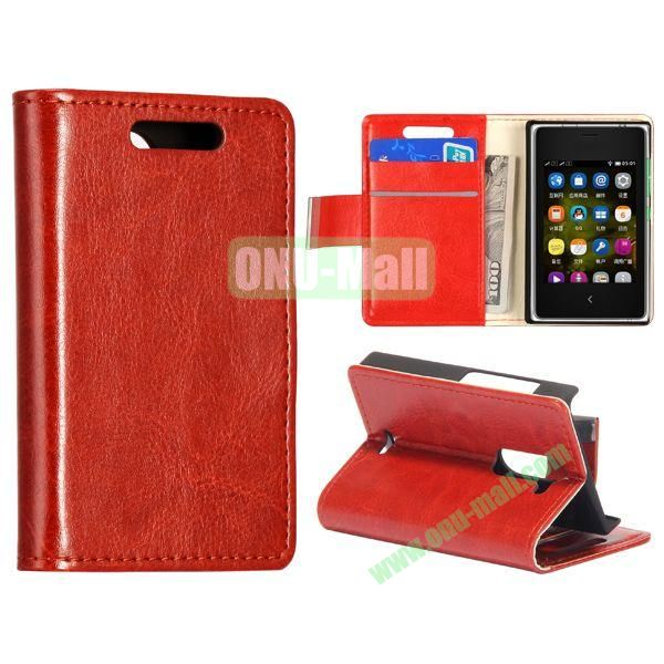 Solid Color Stand Leather Case for NOKIA Asha 502 (Brown)