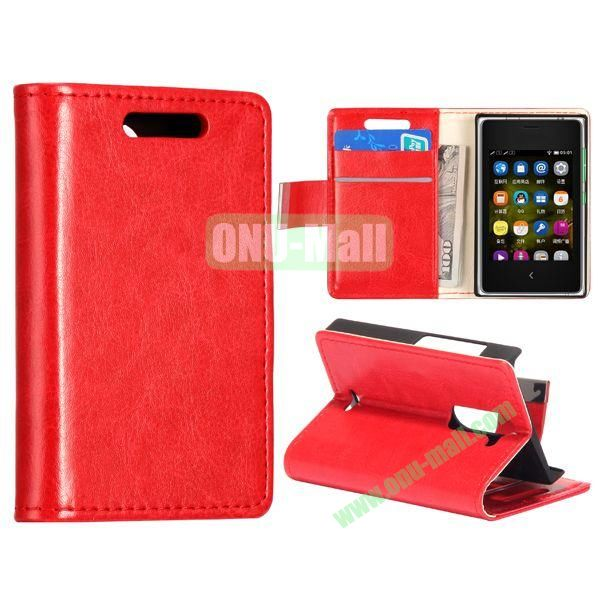 Solid Color Stand Leather Case for NOKIA Asha 502 (Red)