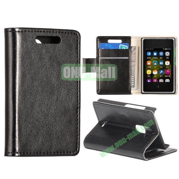 Solid Color Stand Leather Case for NOKIA Asha 502 (Black)