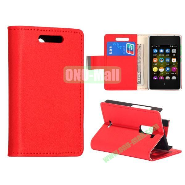 Litchi Pattern Leather Case for NOKIA Asha 502 (Red)