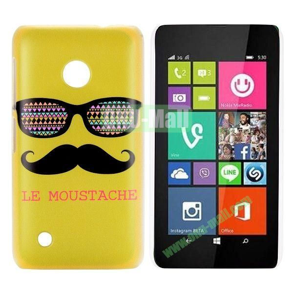 Yellow Mustache & Glasses Design Pattern Hard Case for Nokia Lumia 530