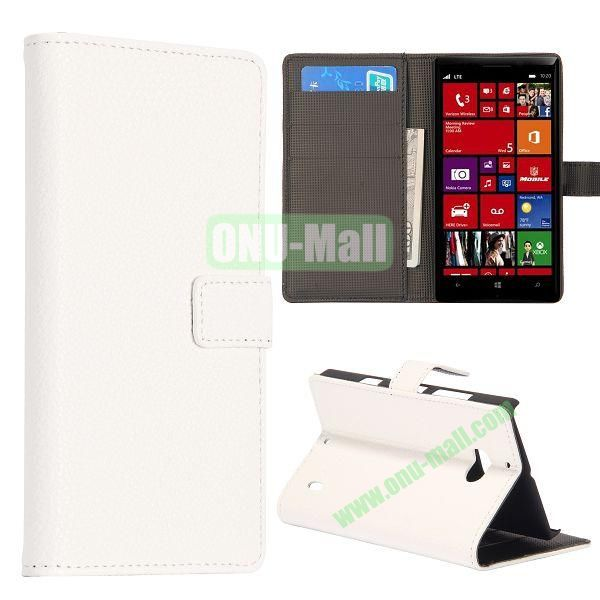 Litchi Texture Leather Flip Stand Case for Nokia Lumia 929 with Card Slots (White)