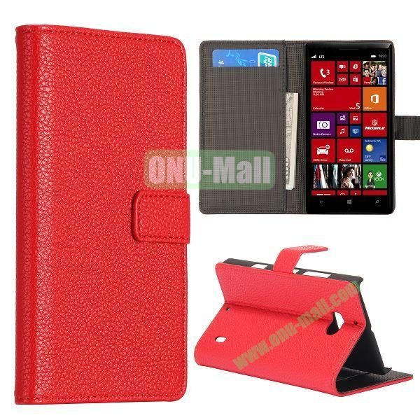 Litchi Texture Leather Flip Stand Case for Nokia Lumia 929 with Card Slots (Red)