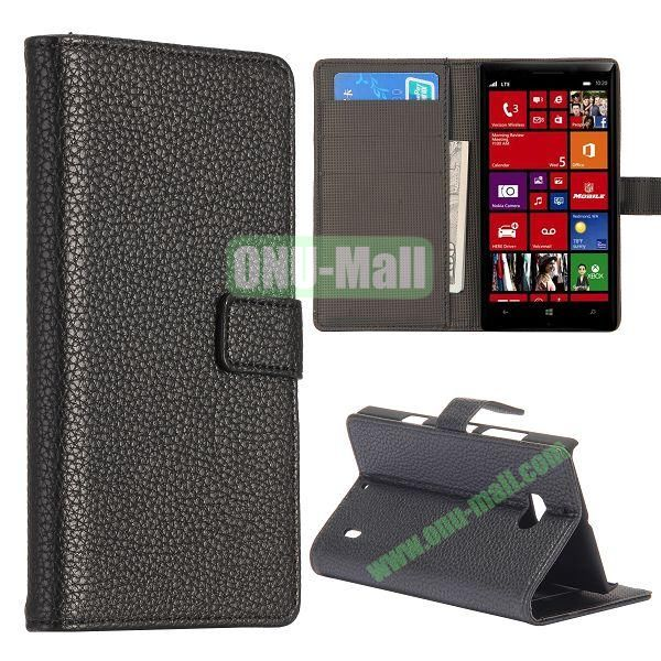 Litchi Texture Leather Flip Stand Case for Nokia Lumia 929 with Card Slots (Black)