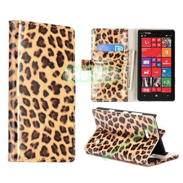 Leopard Pattern Magnetic Flip Stand Leather Case for Nokia Lumia 929