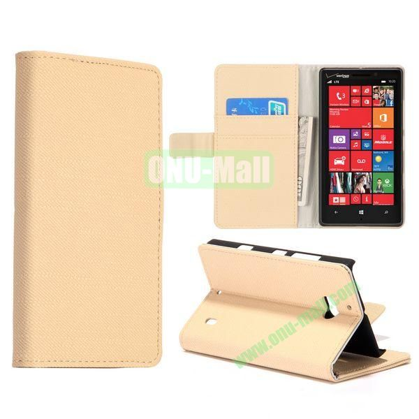Cloth Texture Magnetic Foldable Stand Leather Case for Nokia Lumia 929 (Beige)