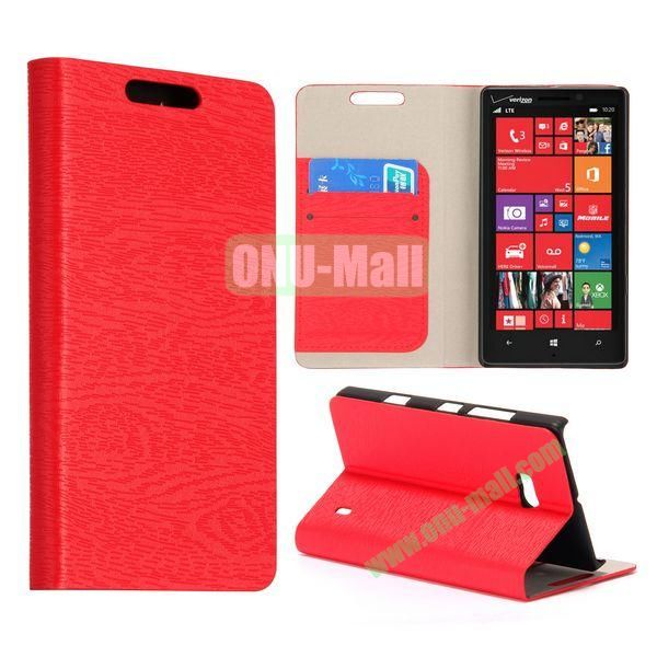 Wood Texture Flip Stand Leather Case for Nokia Lumia 929 (Red)