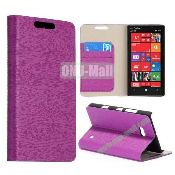 Wood Texture Flip Stand Leather Case for Nokia Lumia 929 (Purple)
