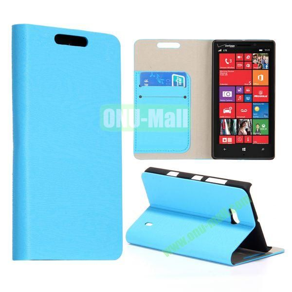 Wood Texture Flip Stand Leather Case for Nokia Lumia 929 (Blue)