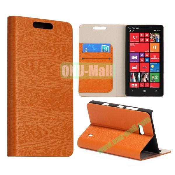 Wood Texture Flip Stand Leather Case for Nokia Lumia 929 (Brown)