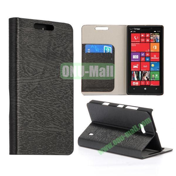 Wood Texture Flip Stand Leather Case for Nokia Lumia 929 (Black)