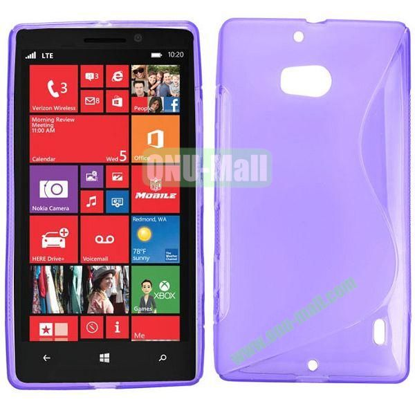 S Shape Design TPU Case for Nokia Lumia 929 (Purple)