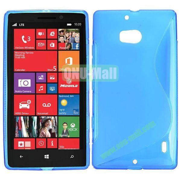 S Shape Design TPU Case for Nokia Lumia 929 (Blue)
