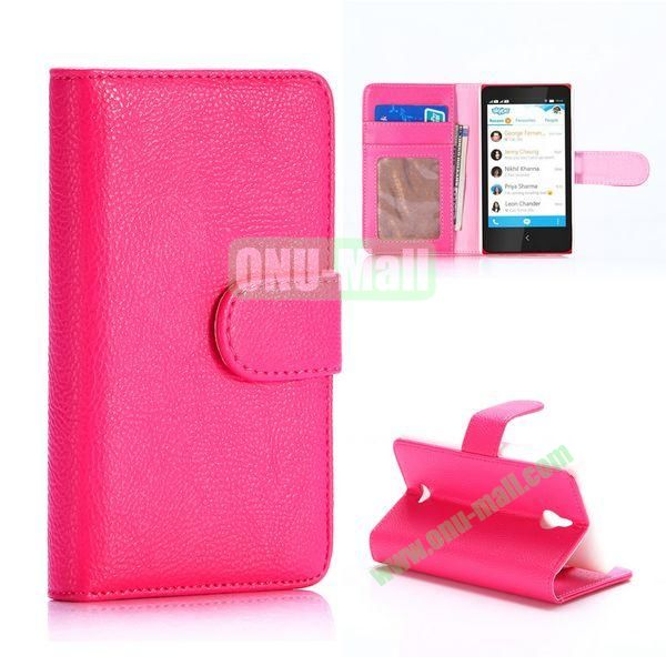 Litchi Texture Magnetic Flip Stand Leather Case for Nokia X2 1013 Dual SIM (Rose)