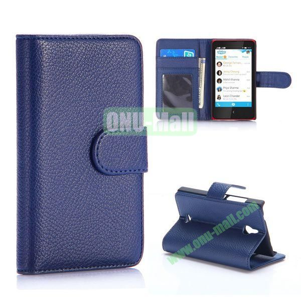 Litchi Texture Magnetic Flip Stand Leather Case for Nokia X2 1013 Dual SIM (Dark Blue)