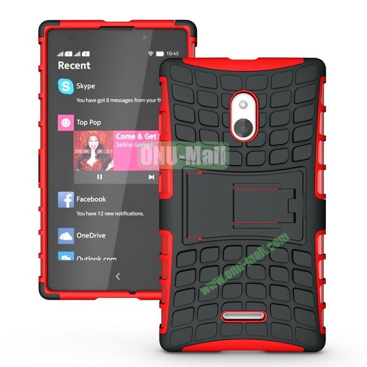 Mix Color Two in One Pattern Hybrid Case for Nokia XL with Stand (Black and Red)
