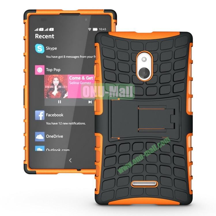 Mix Color Two in One Pattern Hybrid Case for Nokia XL with Stand (Black and Orange)