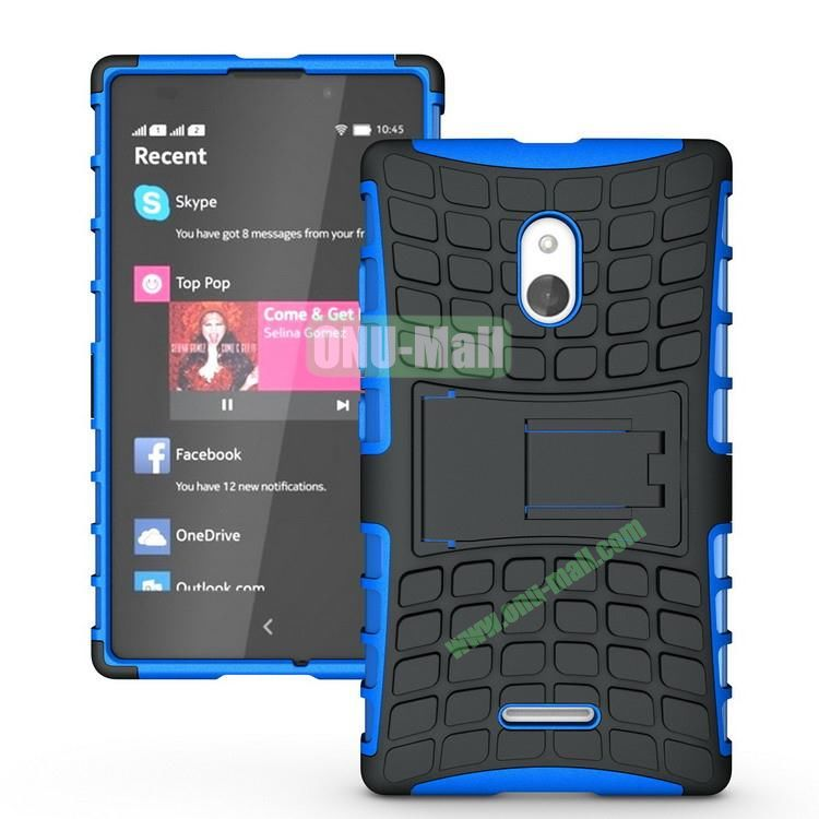 Mix Color Two in One Pattern Hybrid Case for Nokia XL with Stand (Black and Blue)