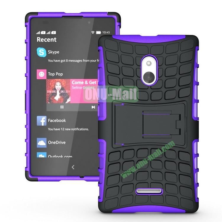Mix Color Two in One Pattern Hybrid Case for Nokia XL with Stand (Black and Purple)