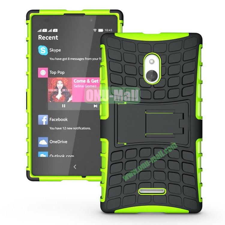 Mix Color Two in One Pattern Hybrid Case for Nokia XL with Stand (Black and Green)