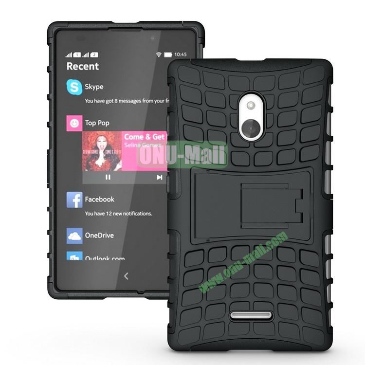 Mix Color Two in One Pattern Hybrid Case for Nokia XL with Stand (Black)