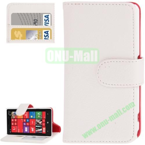 Litchi Texture Leather Case for Nokia Lumia 929 with Credit Card Slots & Holder (White)