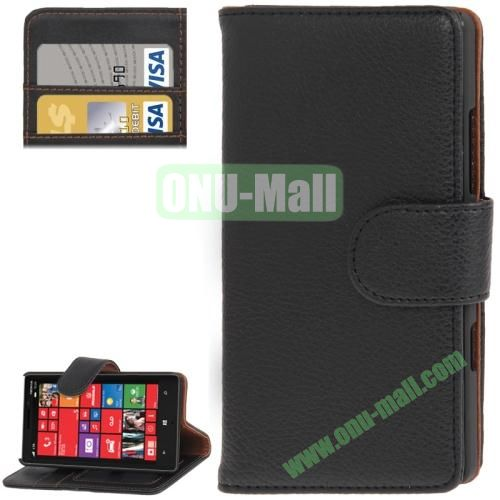Litchi Texture Leather Case for Nokia Lumia 929 with Credit Card Slots & Holder (Black)