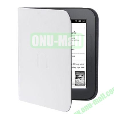 Pure Color Leather Case Cover for Nook Simple Touch  Nook 3  Nook 2 (White)
