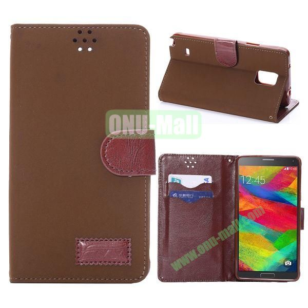 Foldable Wallet Style TPU and Cloth Textile  PU Leather Case for Samsung Galaxy Note 4 N910 (Light Brown)