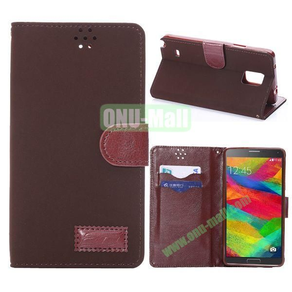 Foldable Wallet Style TPU and Cloth Textile  PU Leather Case for Samsung Galaxy Note 4 N910 (Dark Brown)