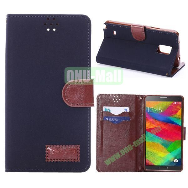 Foldable Wallet Style TPU and Cloth Textile  PU Leather Case for Samsung Galaxy Note 4 N910 (Dark Blue)