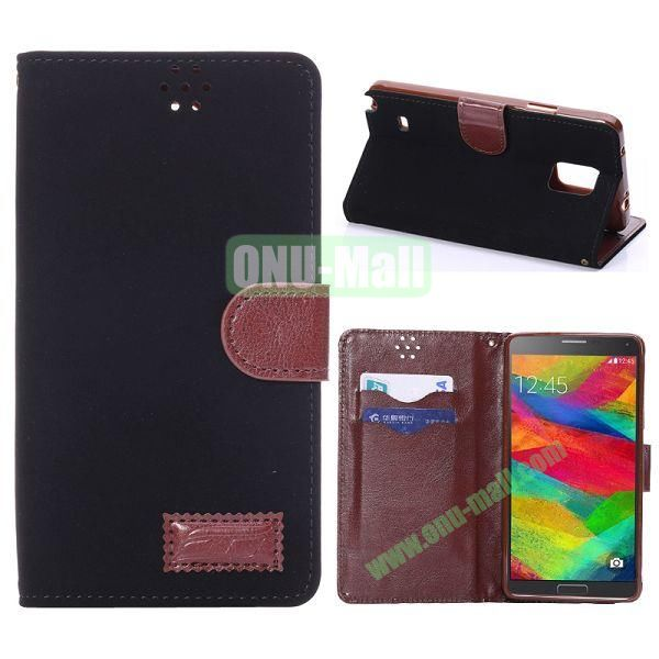 Foldable Wallet Style TPU and Cloth Textile  PU Leather Case for Samsung Galaxy Note 4 N910 (Black)