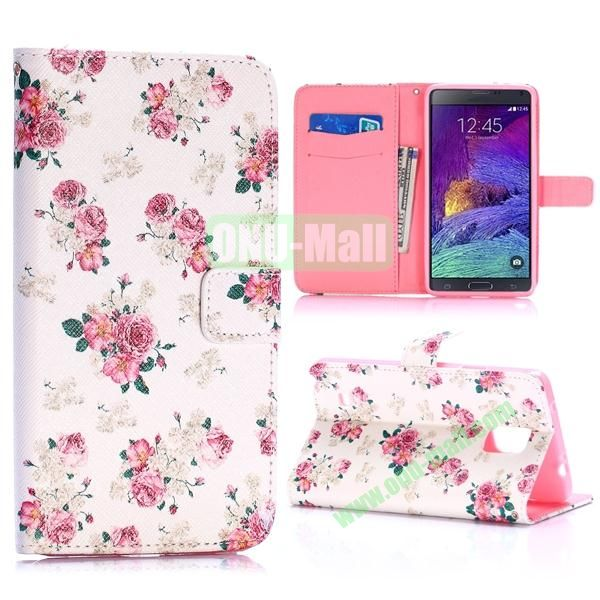 Special Pattern Wallet Style TPU and PU Leather Case for Samsung Galaxy Note 4 N910 (Beautiful Flowers)
