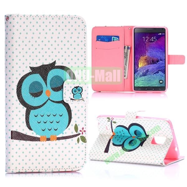 Special Pattern Wallet Style TPU and PU Leather Case for Samsung Galaxy Note 4 N910 (Sleeping Owl)