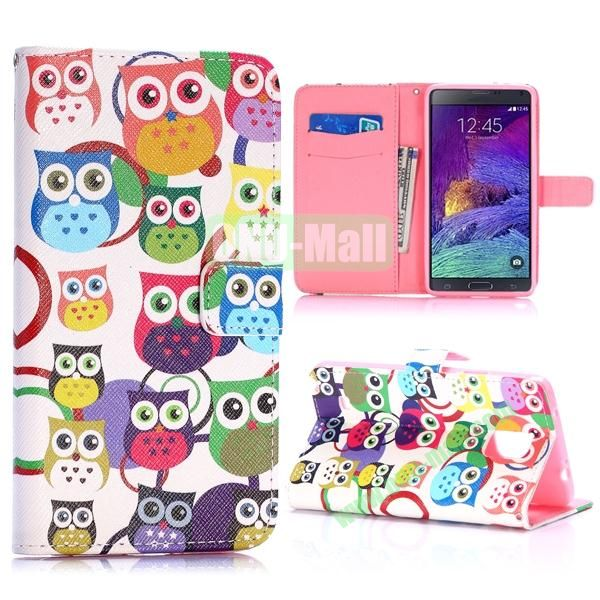 Special Pattern Wallet Style TPU and PU Leather Case for Samsung Galaxy Note 4 N910 (Colorized Owls)