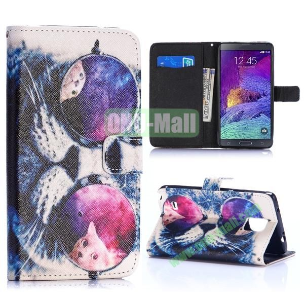 Special Pattern Wallet Style TPU and PU Leather Case for Samsung Galaxy Note 4 N910 (Funny Glasses Cat)
