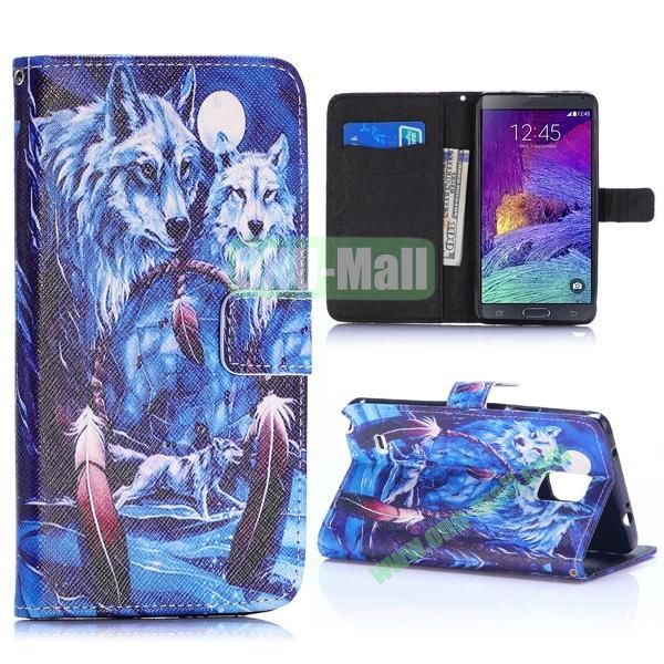 Special Pattern Wallet Style TPU and PU Leather Case for Samsung Galaxy Note 4 N910 (Wolf Pattern)